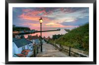 Whitby, 199 Steps, Pink Glow., Framed Mounted Print