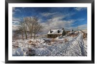 Derelict cottage in the snow, Framed Mounted Print