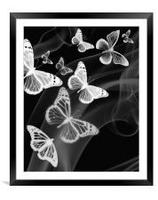 black white butterfly phone case, Framed Mounted Print