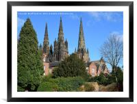 Lichfield three spire Medieval Cathedral., Framed Mounted Print