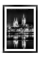 Truro Cathedral in Black and White, Framed Mounted Print