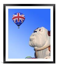 Surprised dog and balloon, Framed Mounted Print