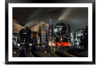 Steam locomotives receive attention on shed at ni, Framed Mounted Print
