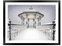 Bandstand in the snow, Framed Mounted Print