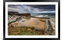 Staithes from the East cliff, Framed Mounted Print
