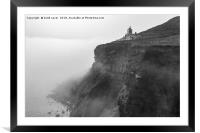 Whitby Lighthouse as the fog rolls in, Framed Mounted Print