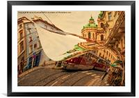 Turn the Page of Past Day. Prague Streets, Framed Mounted Print