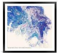 Underwater Worlds.  Abstract Fluid Acrylic Paintin, Framed Mounted Print