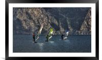 Wind surfing, Framed Mounted Print