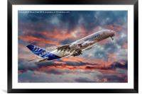 Airbus A380 - Sunset, Framed Mounted Print