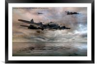 B-17 Flying Fortress - Almost Home, Framed Mounted Print
