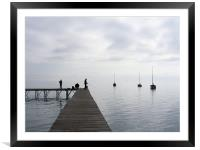 Misty morning by the lake, Framed Mounted Print