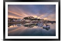 Torquay Sunset Explosion, Framed Mounted Print