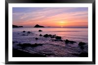 Meadfoot Beach Sunrise looking towards Thatcher Ro, Framed Mounted Print