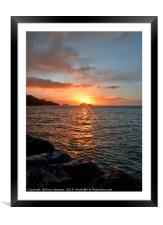 Sunrise at Meadfoot Beach in Torquay, Framed Mounted Print