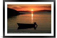 Small Boat In The Sunset, Framed Mounted Print