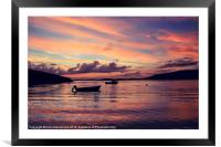 Small Boats In Shetland Sunset, Framed Mounted Print
