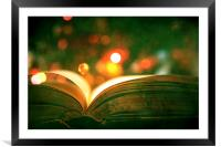 Open Book With Lights Bokeh, Framed Mounted Print