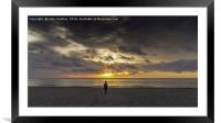 Walking On The Beach At Sunset, Framed Mounted Print