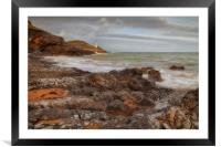Bracelet Bay and Mumbles lighthouse, Framed Mounted Print