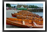 Rowing boats available for hire., Framed Mounted Print