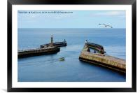 A small boat leaving Whitby Harbour, Framed Mounted Print