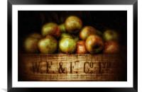 Painted Apples in Crate, Framed Mounted Print