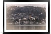 Bled Island Dusted With Snow, Framed Mounted Print