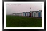 Beach Huts On A Foggy Morning, Framed Mounted Print