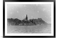 Wintry Bled Island Mono, Framed Mounted Print