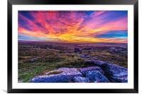 Saddle Tor Sunset, Framed Mounted Print
