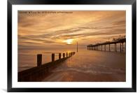 Teignmouth Pier Sunrise. , Framed Mounted Print