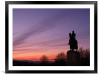 Robert the Bruce statue at sunset., Framed Mounted Print