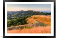 Malvern hills in the summer evening, Framed Mounted Print