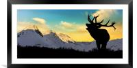 Deer with snowy mountains in the background,, Framed Mounted Print