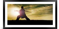 Asian man practices Kung fu., Framed Mounted Print