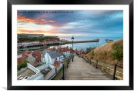Sunset over Whitby Harbour, Framed Mounted Print