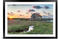 Beautiful Sunset at Thornham Old Harbour, Framed Mounted Print