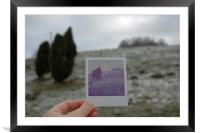 Polaroid photo and landscape, Framed Mounted Print
