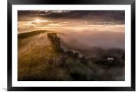 Corfe Castle misty sunrise , Framed Mounted Print