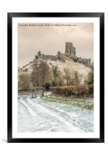 Corfe Castle winter pathway, Framed Mounted Print