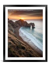 Warming Winter sunrise at Durdle Door , Framed Mounted Print