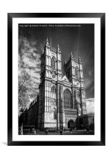Westminster Abbey, London in monochrome, Framed Mounted Print