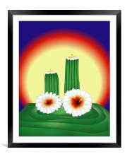 Blooming Cactuses in Sunset, Framed Mounted Print