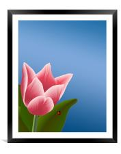 Tulip with Ladibug, Framed Mounted Print