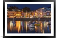Torquay Harbour and Town at Night, Framed Mounted Print