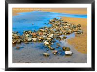 Pool on a sandy beach at low tide with cobbles and, Framed Mounted Print