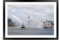 Fire boat spraying water, Framed Mounted Print