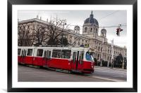 Old tram on the Ringstrasse line in the heart of , Framed Mounted Print