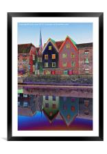 Norwich Colour Buildings and Cathedral Spire, Framed Mounted Print